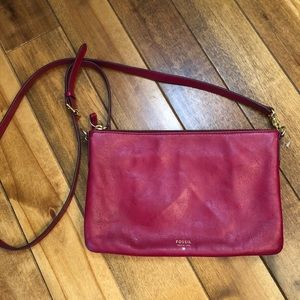 Fossil Leather Hot Pink Crossbody purse Bag